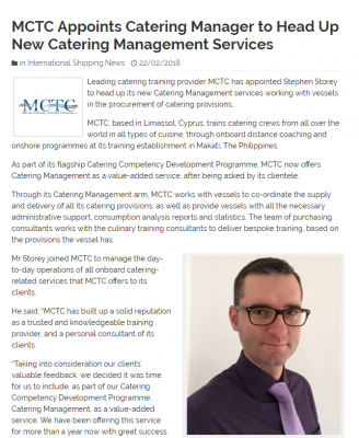 This Week MCTC Announced News Of Its New Catering Manager Joining The Team  To Head Up The Catering Management Services U2013 Working With Vessels In The  ...  Catering Manager